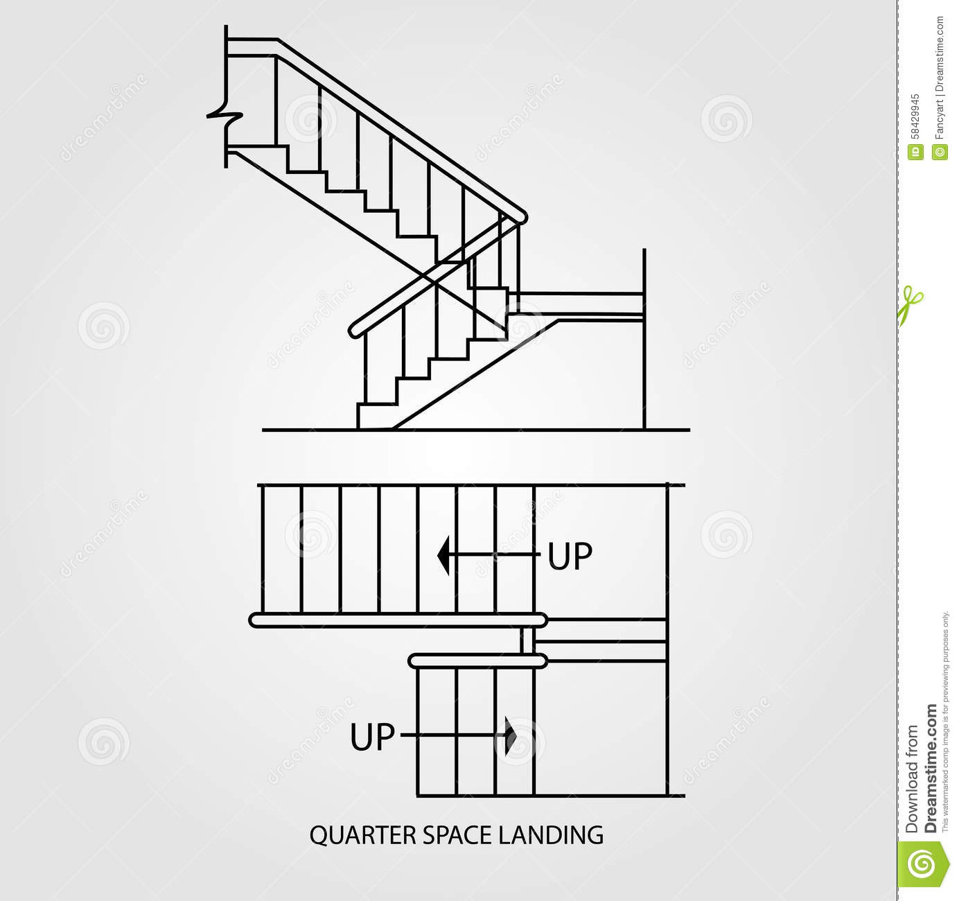 Top view and front view of a quarter space landing stair