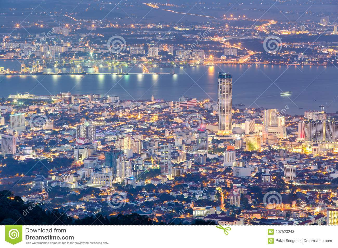 Top View Of Georgetown, Capital Of Penang Island Stock Image