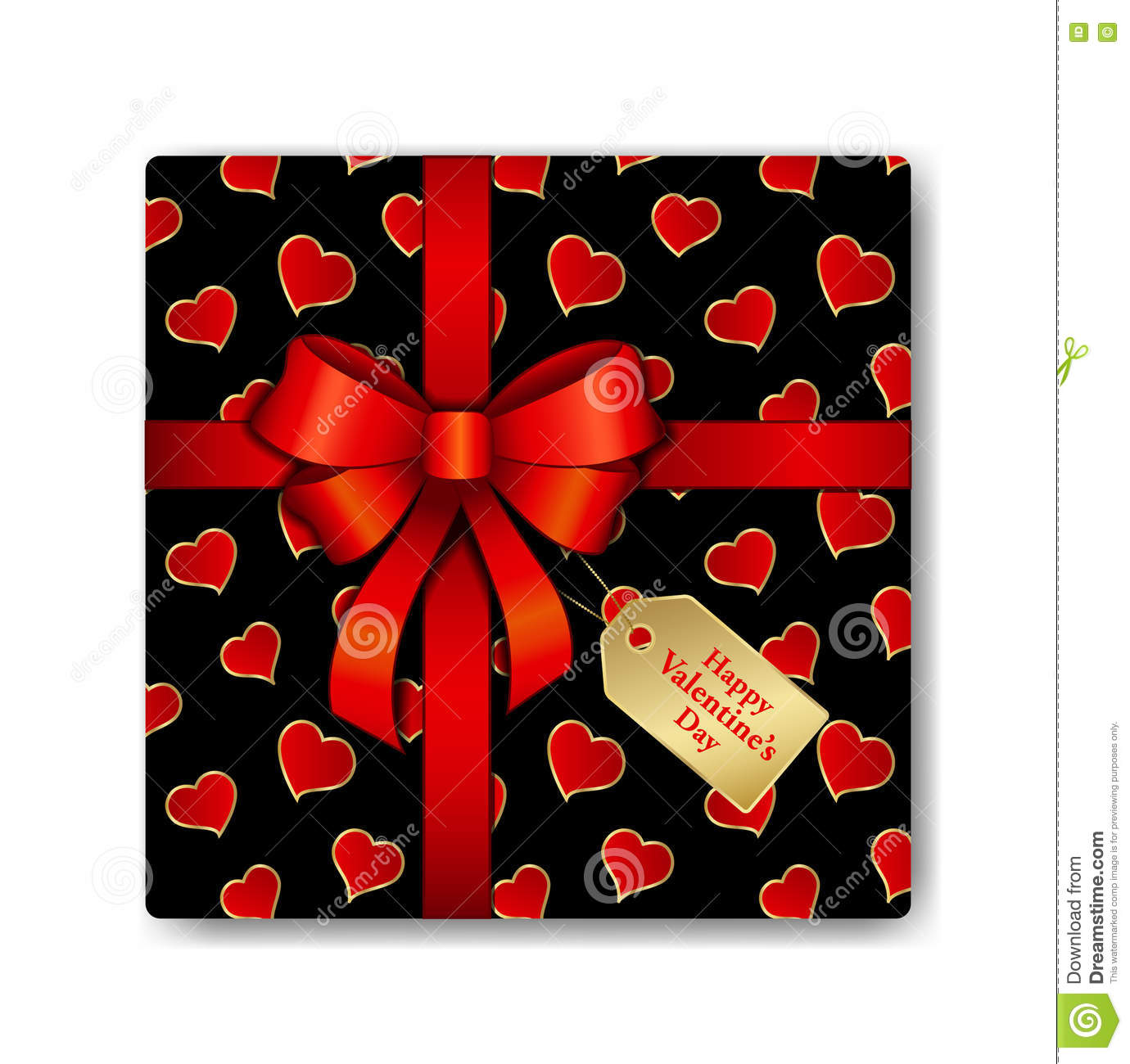 Top View Gift Box With Red Ribbon And Hearts Pattern. Stock Vector ...