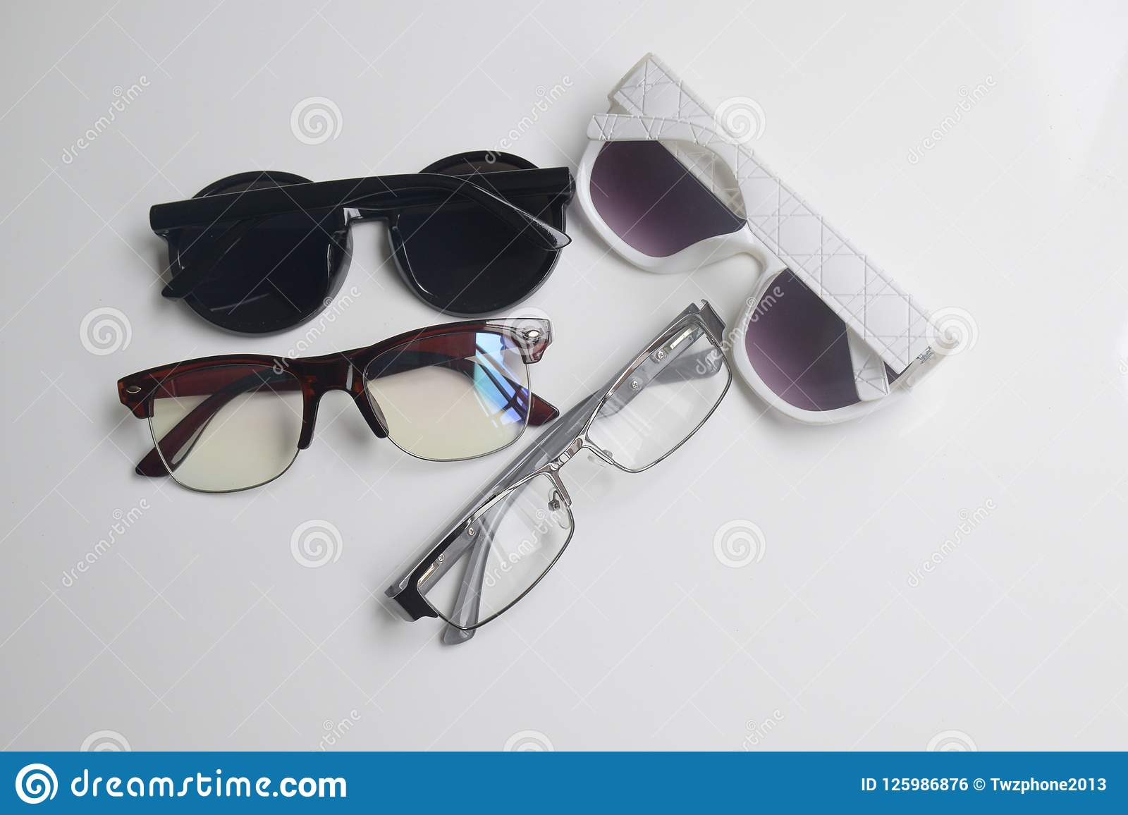 cec0fd470ccf Top View Glasses Are Placed On A White Background,copy Space Stock ...