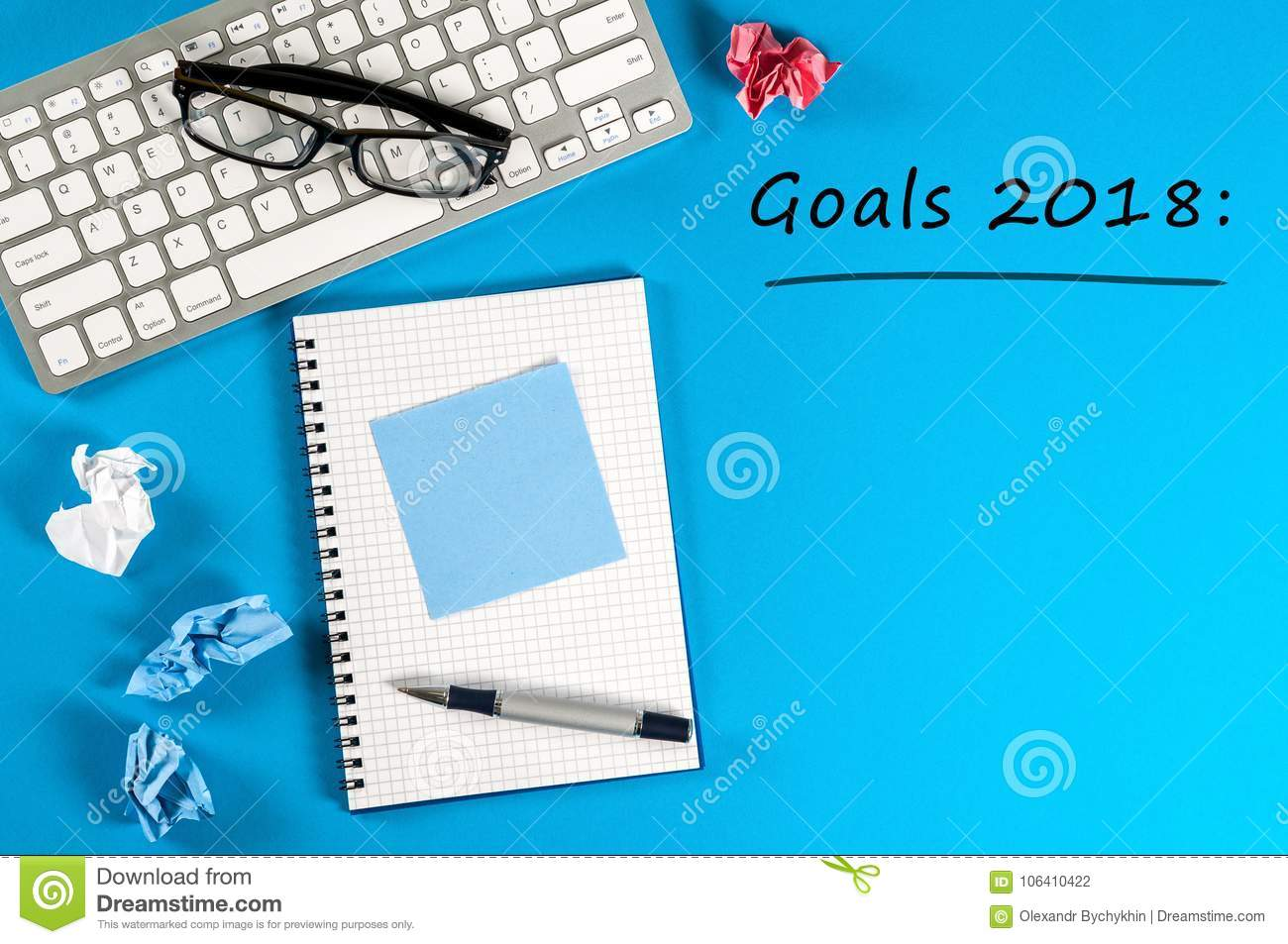 Top View 2018 Goals List With Keyboard, Office Supplies On