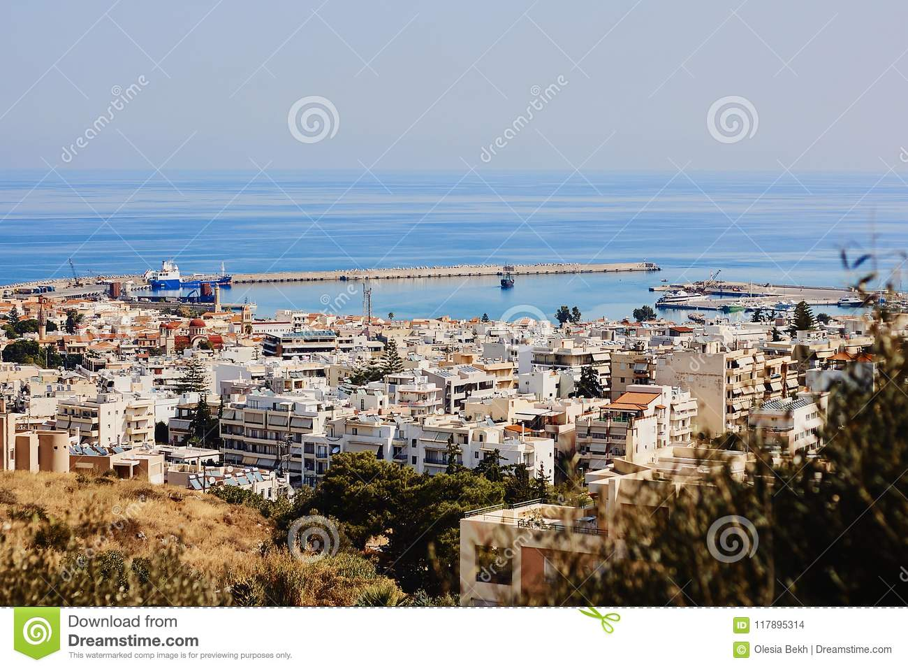 Top view of the Greek city Rethymno, harbor and Aegean Sea, Crete, Greece