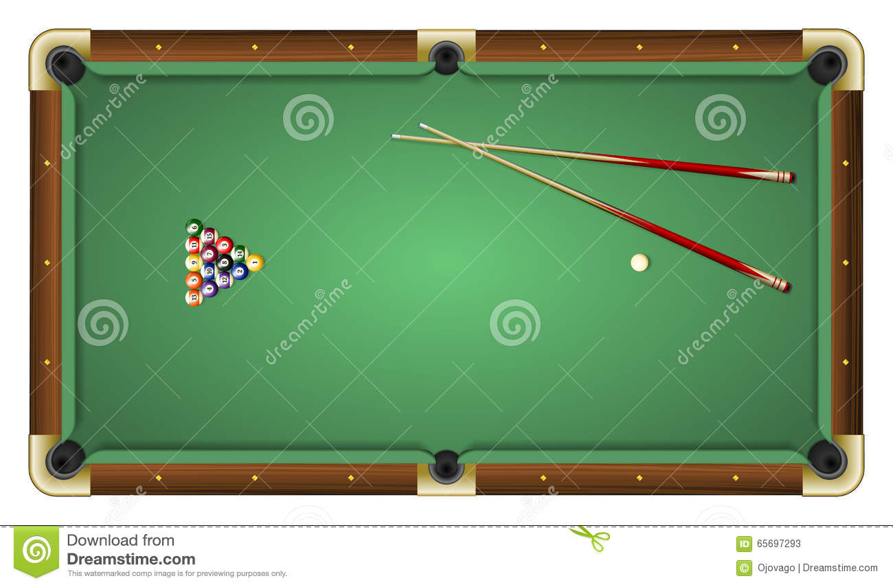 Top View Of A Green Pool Table With Balls And Cues Stock Vector - Pool table top only