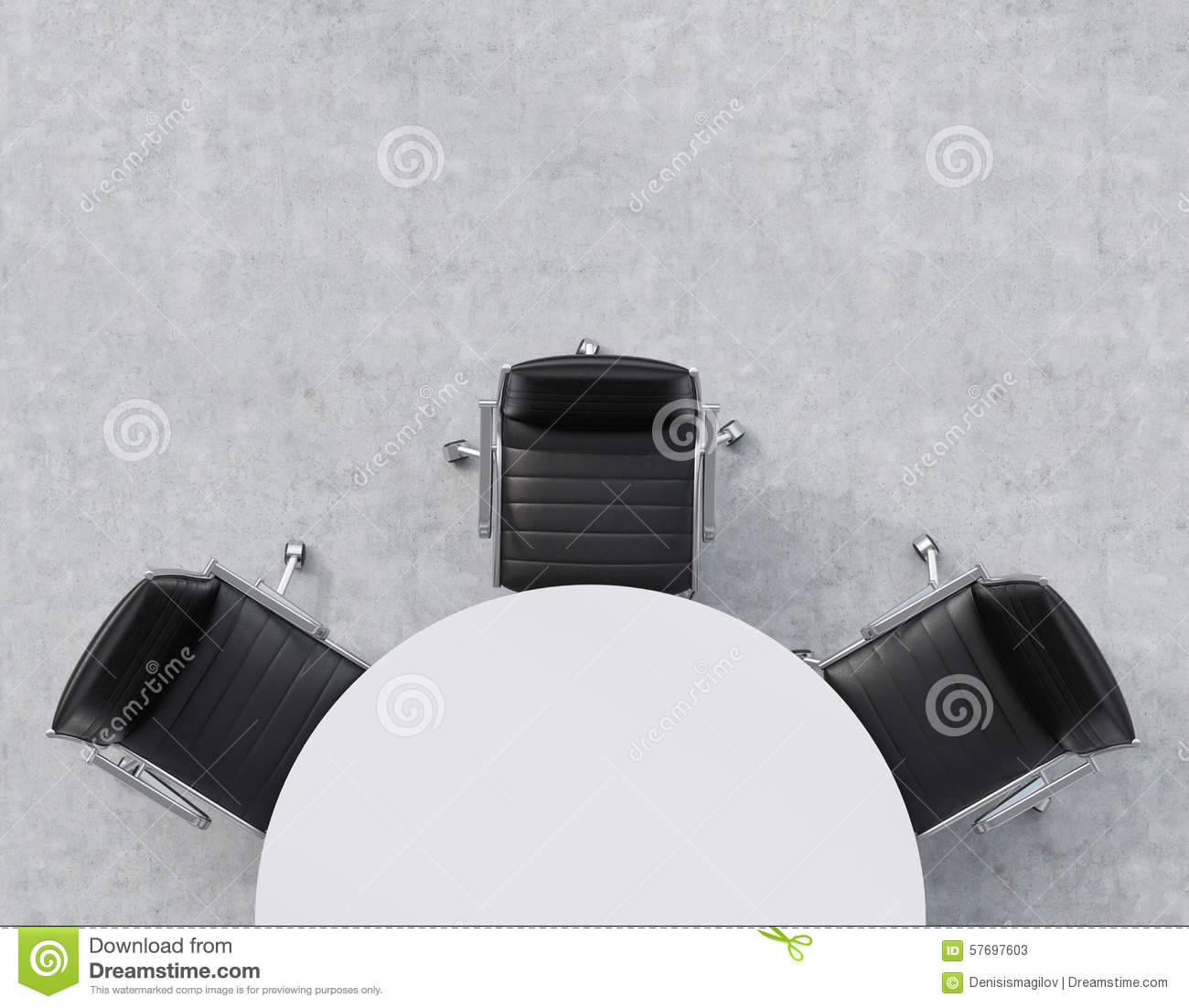 Black leather chair and a half - Top View Of A Half Of The Conference Room A White Round Table Three
