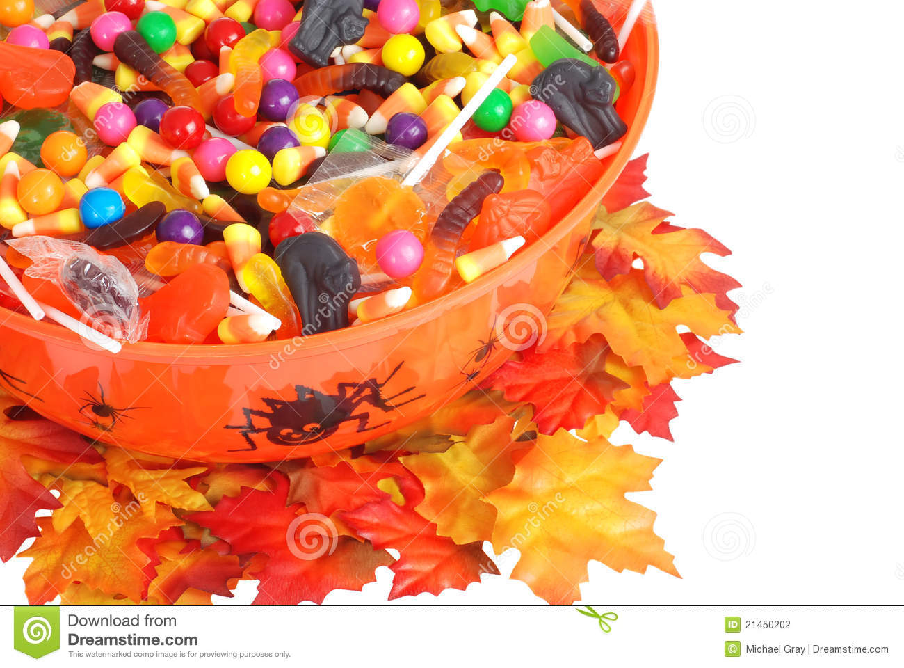 top view halloween candy bowl stock photo - image of bucket, corn