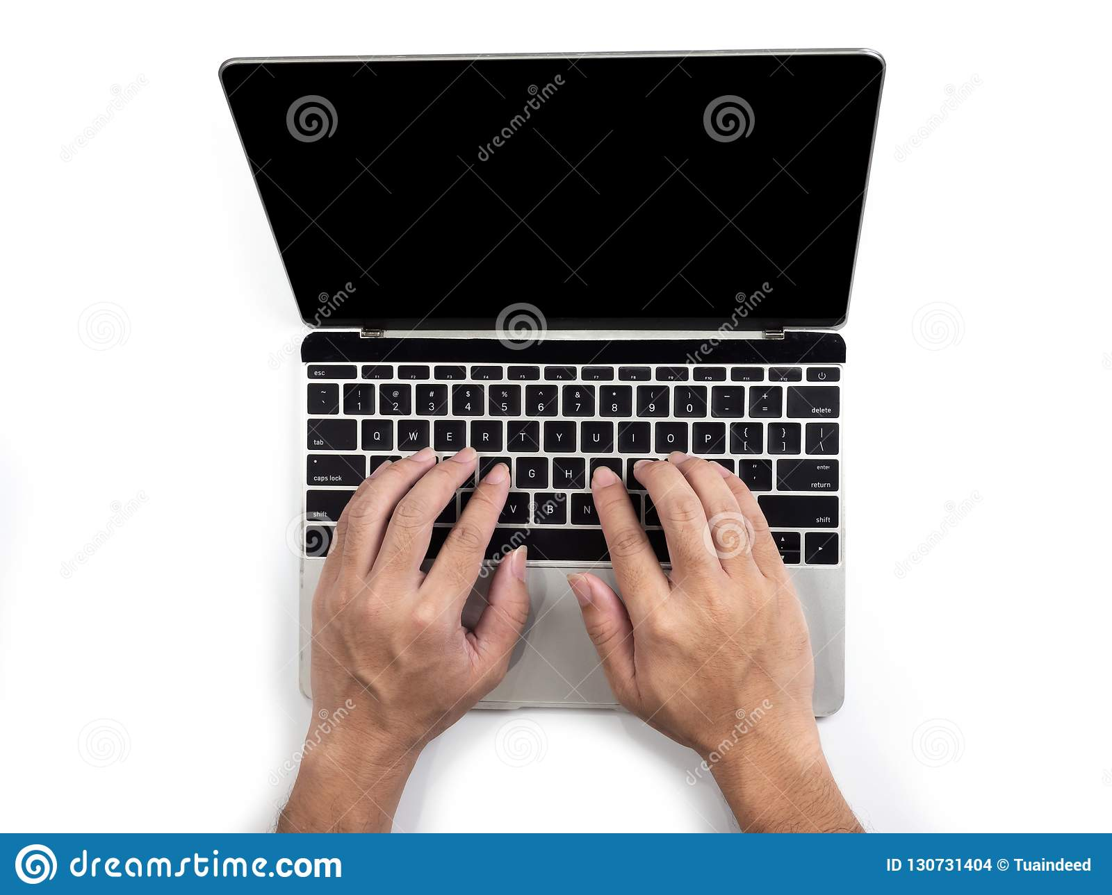 Top view of hands typing on computer laptop on white isolated background with clipping path.