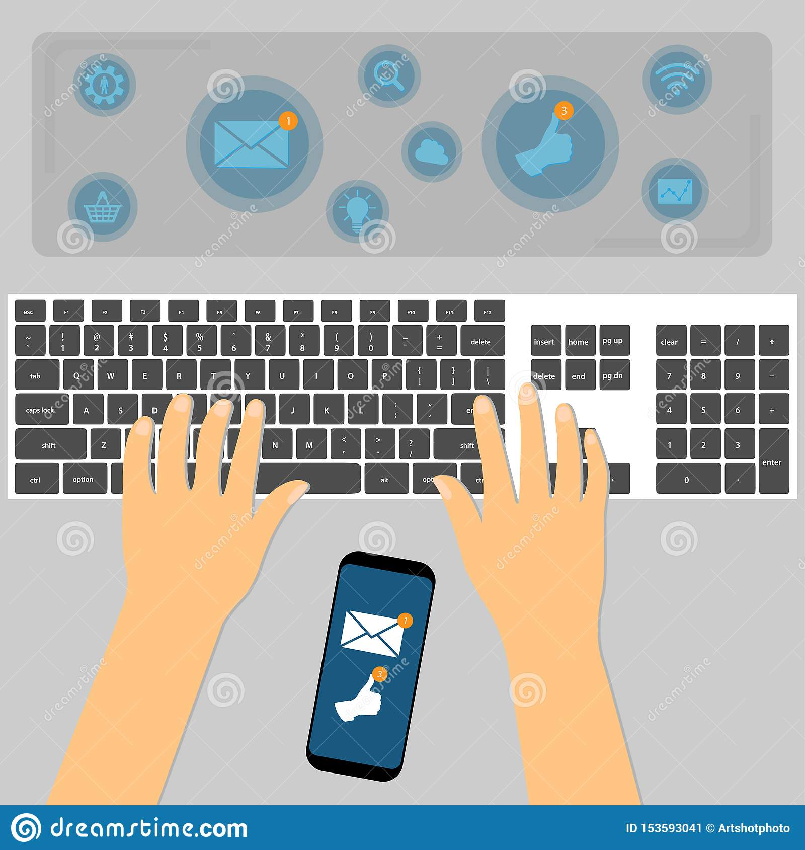 Top view of hands using keyboard with the smartphone between them