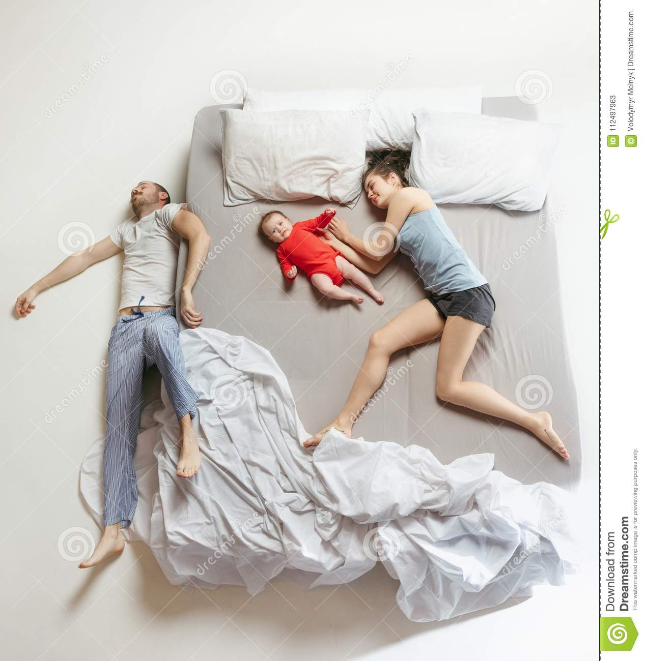 Top View Of Happy Family With One Newborn Child In Bedroom Stock Image Image Of Bedroom Baby 112497963
