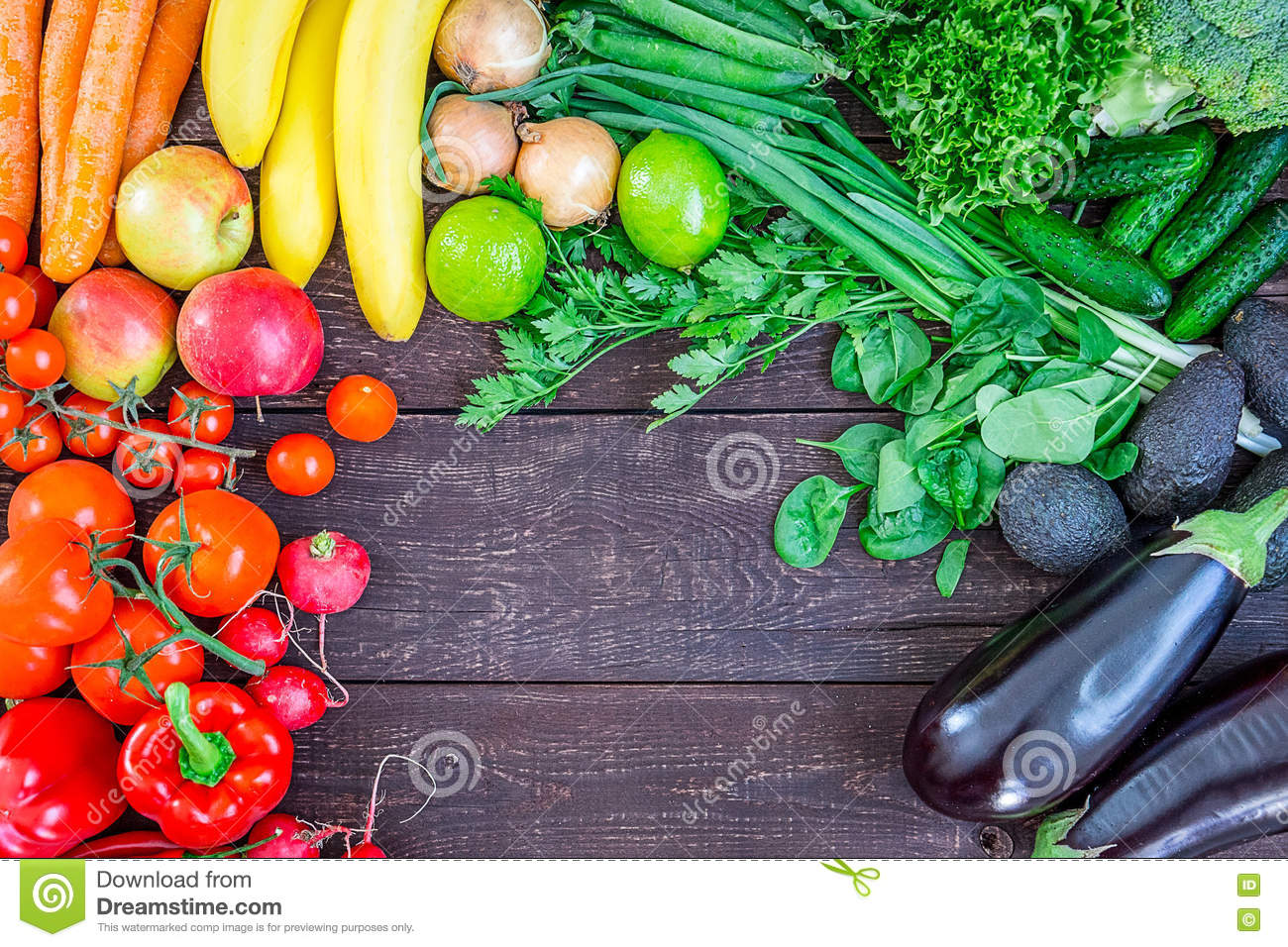 Top View Of Healthy Eating Background With Colorful Fresh ...