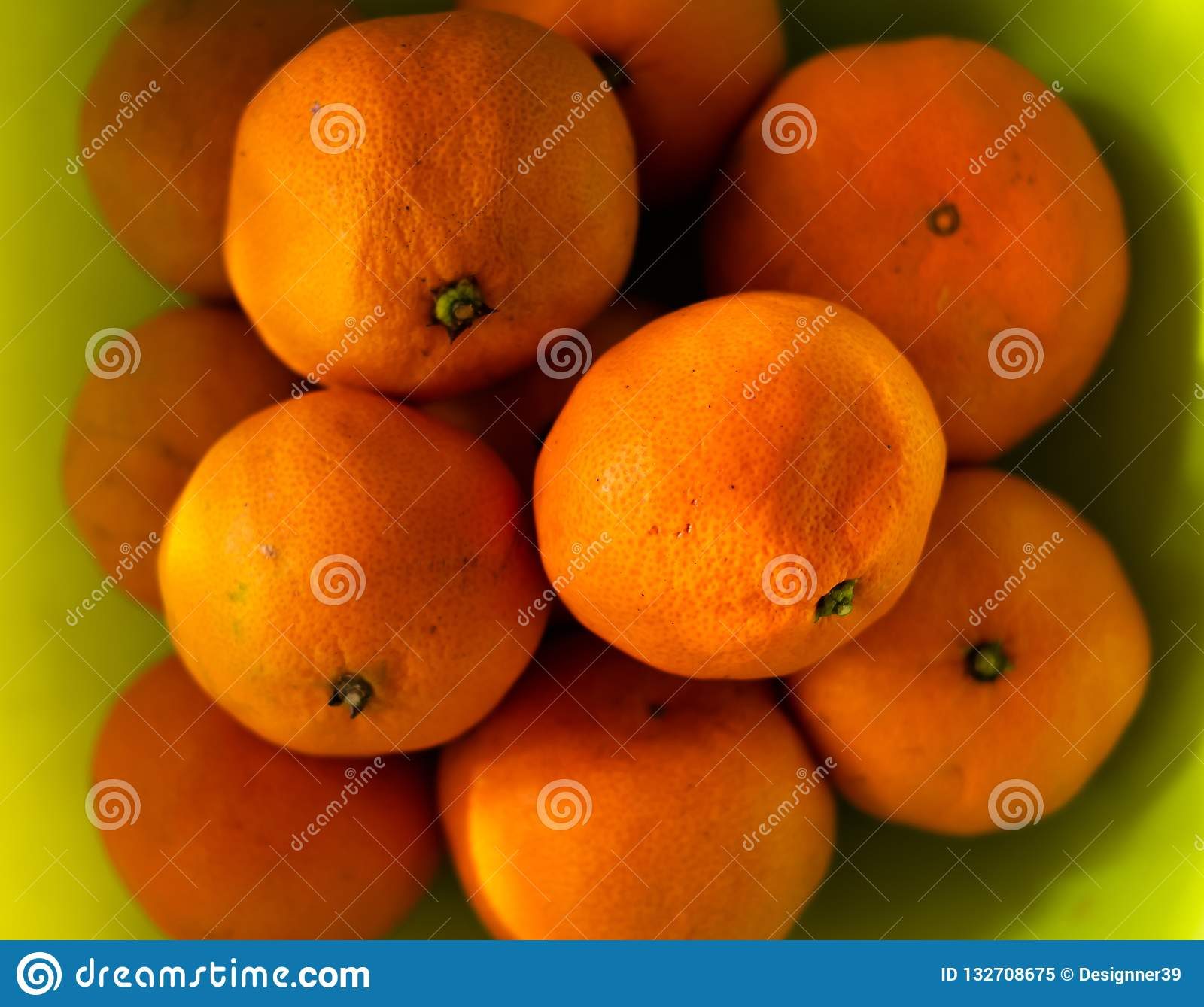 Top view , Healthy fruits, orange fruits green color background .