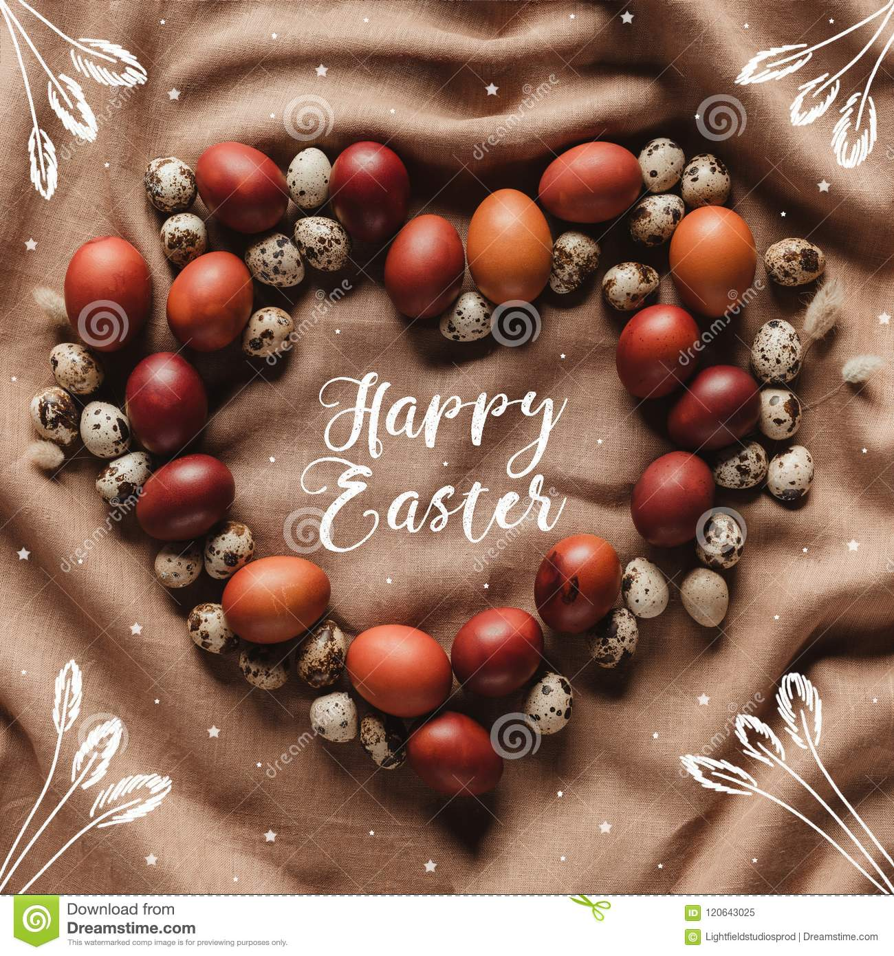 top view of heart shaped frame made of chicken and quail eggs with Happy Easter lettering, stars