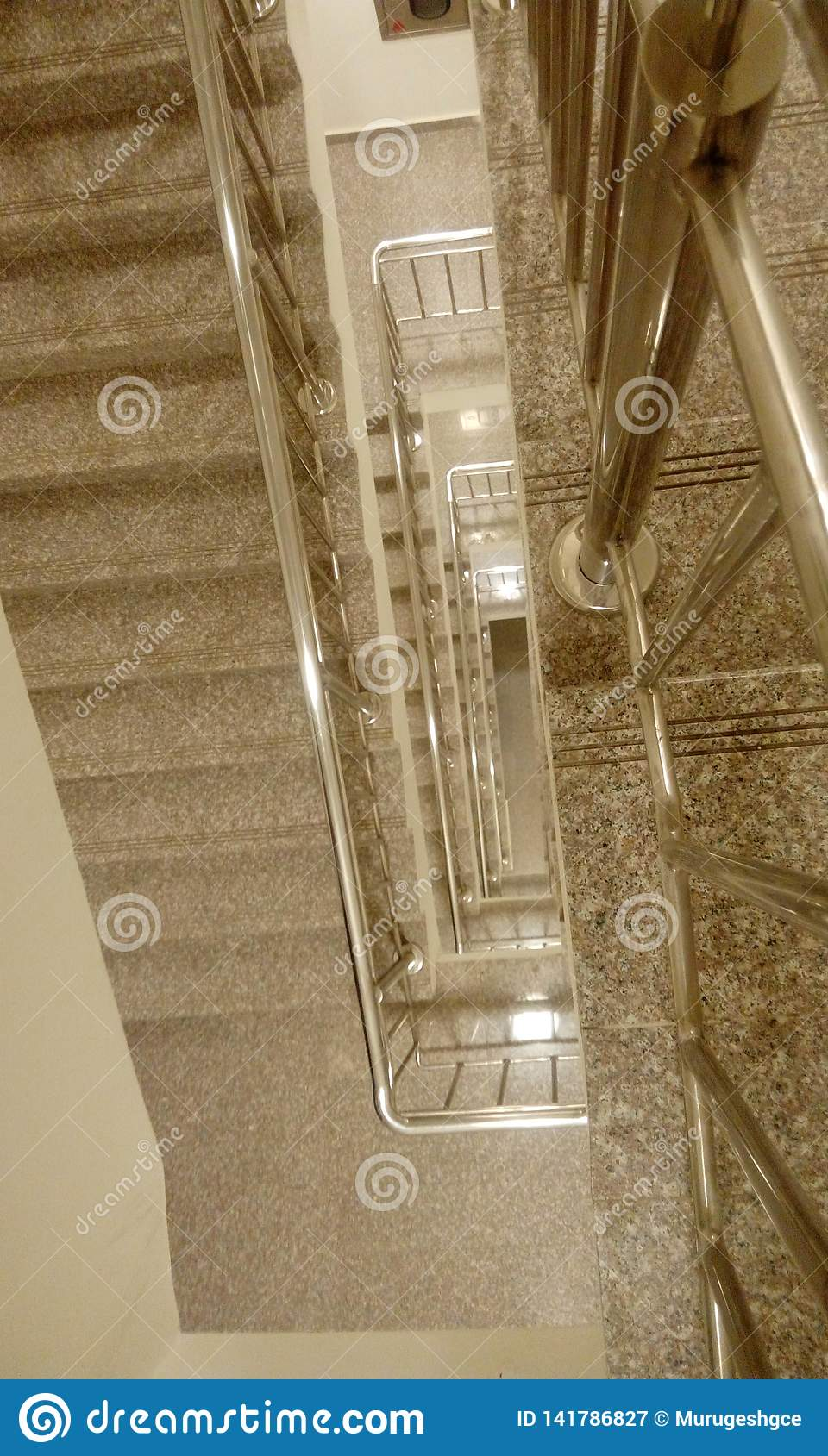 Top view of high rise building staircase with tred and risers