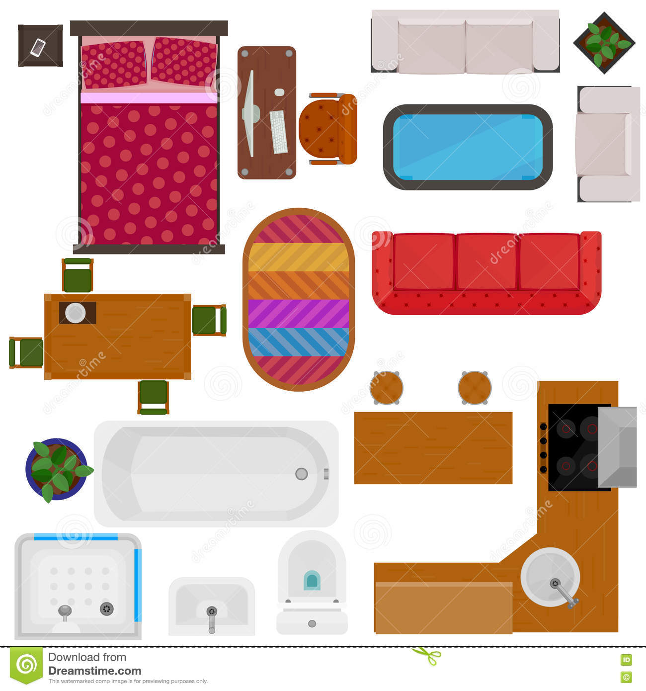 Top view of home furniture stock vector image of double for Mobilia domestica