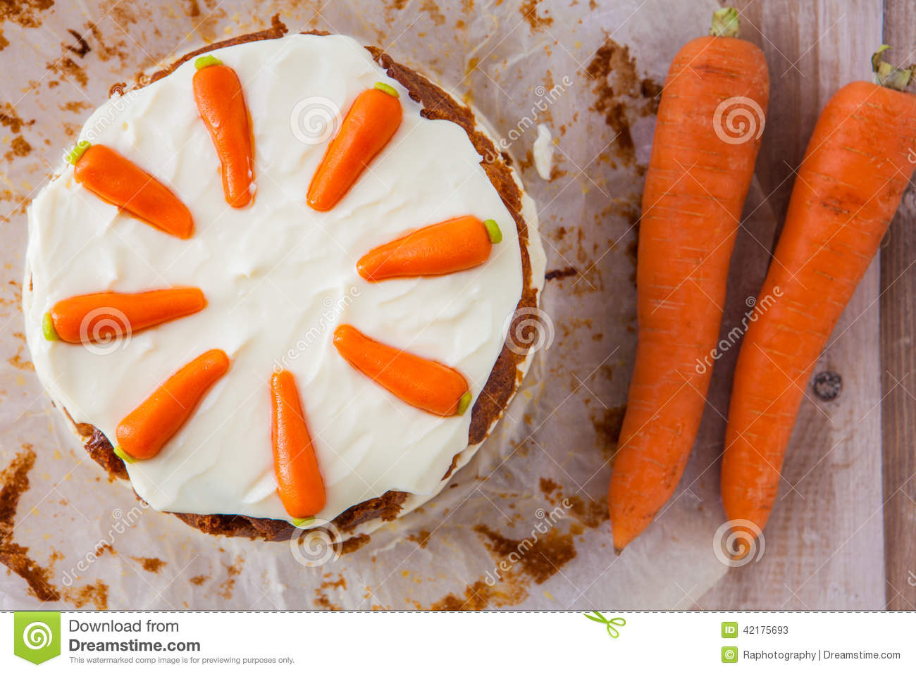 Top View Of A Homemane Carrot Cake With Mascarpone Cream Cheese Stock ...