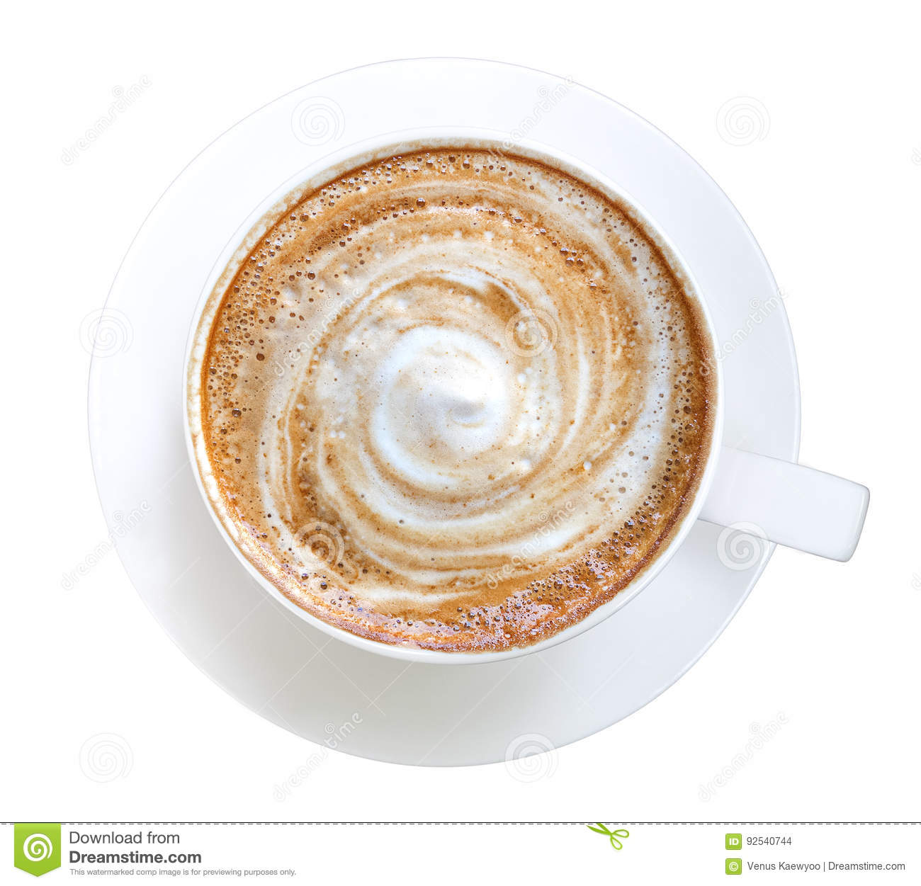 Top view of hot coffee latte cappuccino spiral foam isolated on white background, path