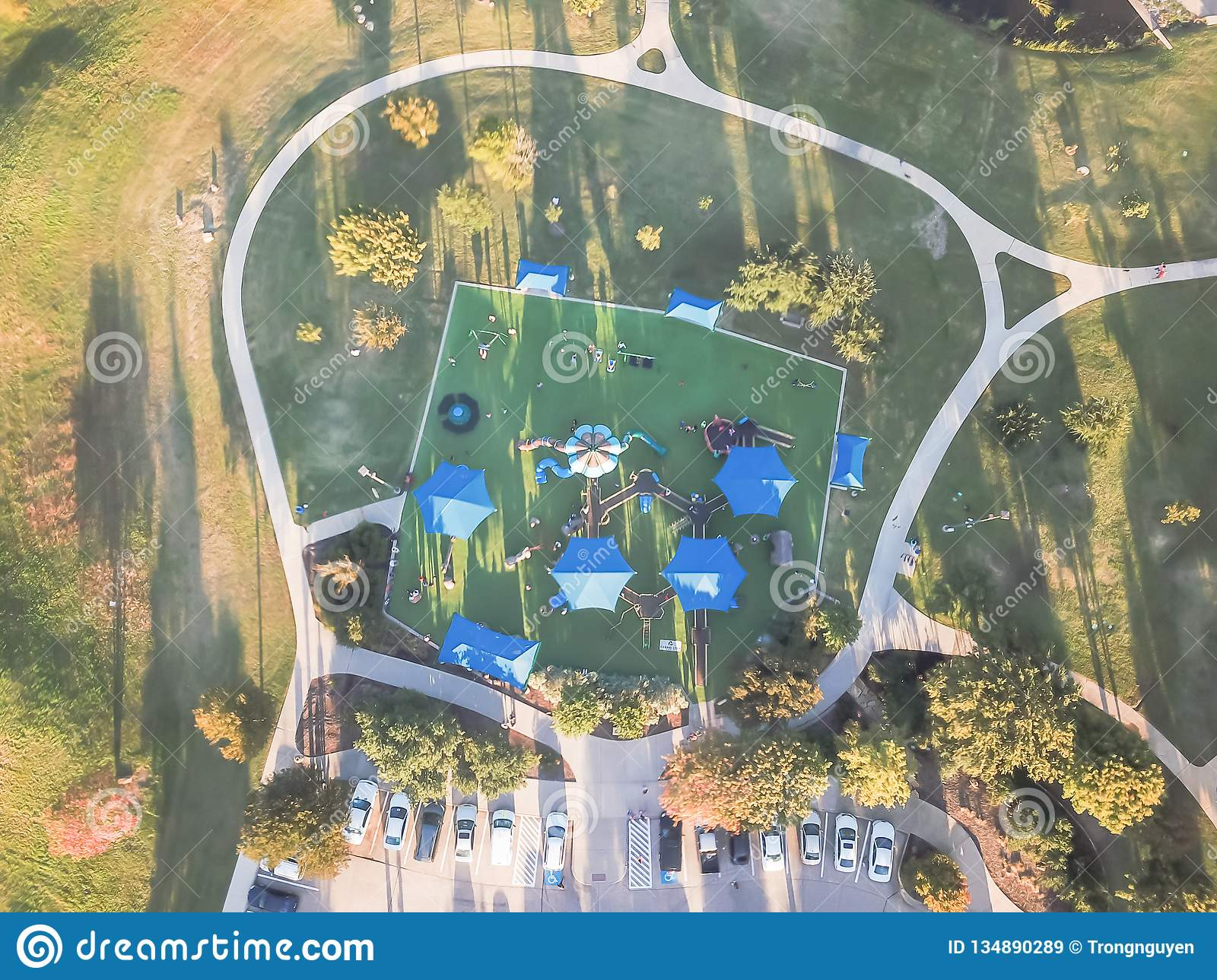 Top View Huge Playground Near Dallas, Texas At Fall Sunset ...