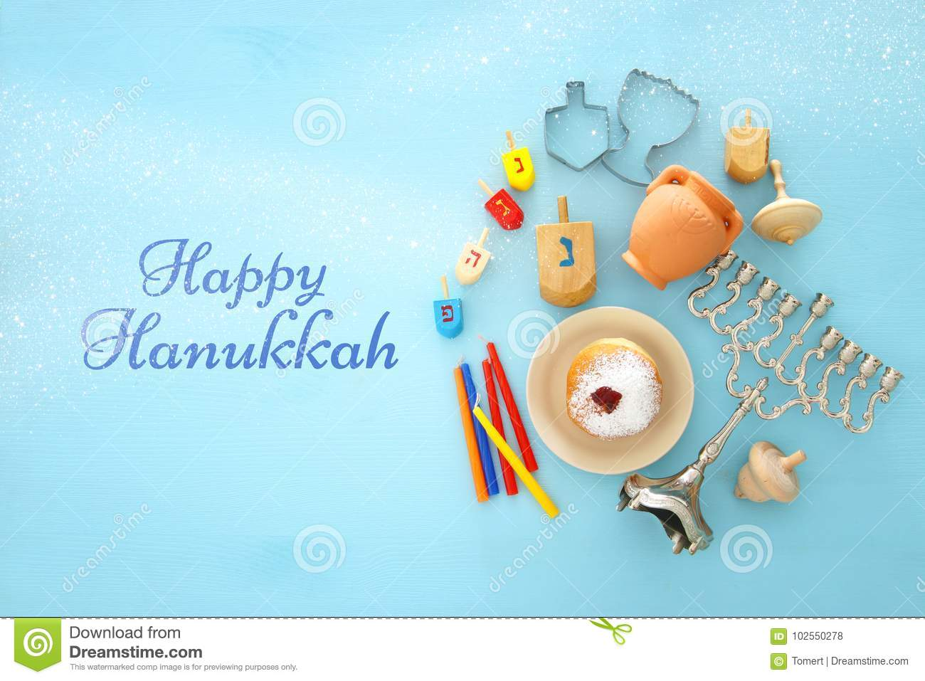 Top View Image Of Jewish Holiday Hanukkah Background With Menorah Lighting Diagram Traditional Spinnig X28