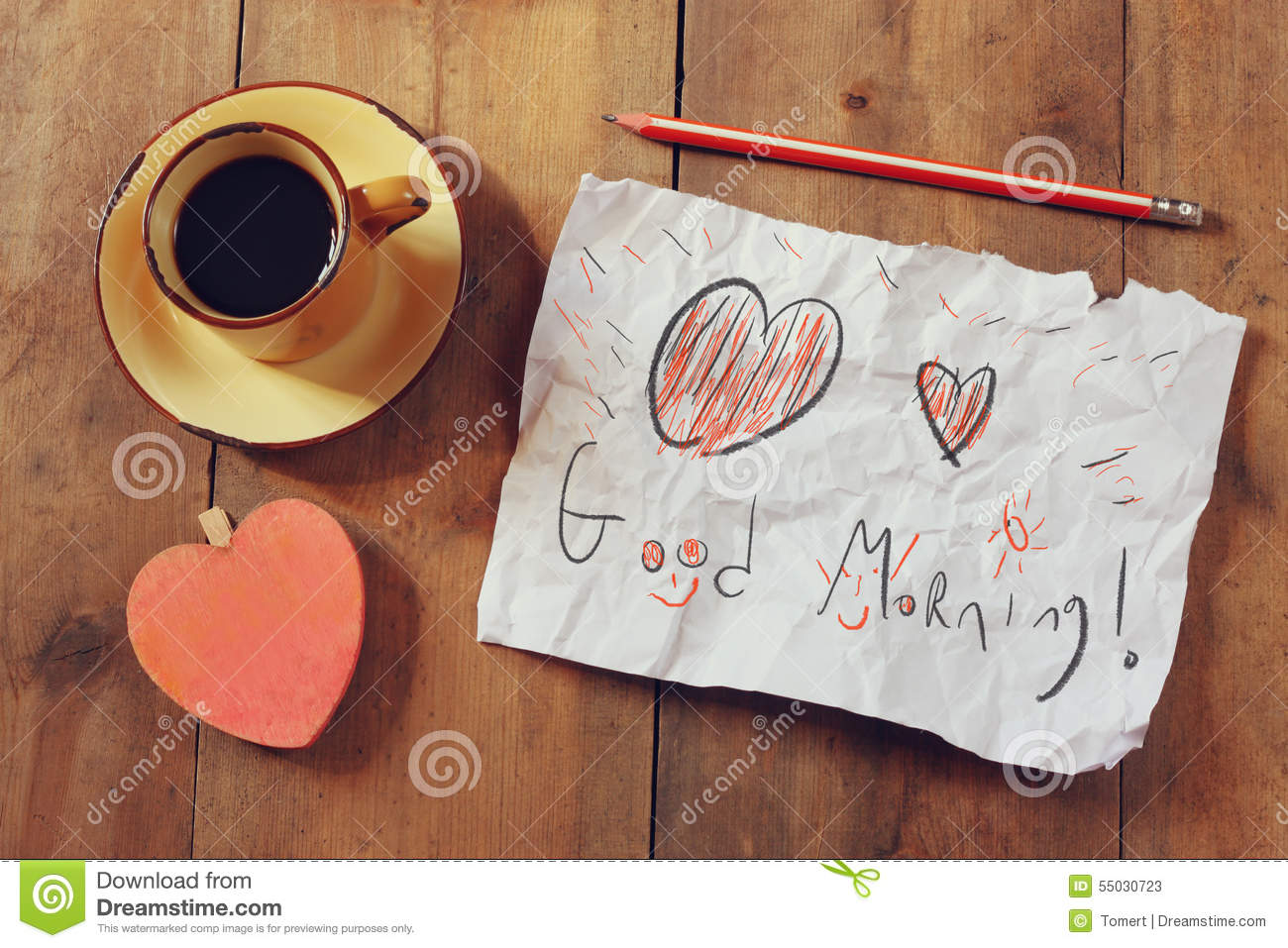 Top View Image Of Paper With The Text Good Morning Next To