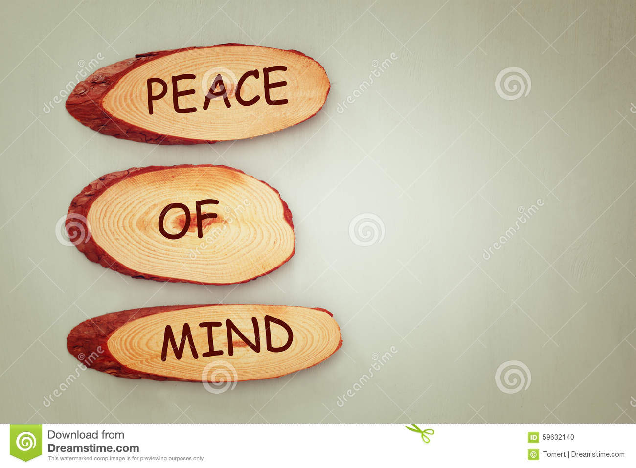 Top View Image Of Wooden Signs With The Text Peace Of Mind Stock