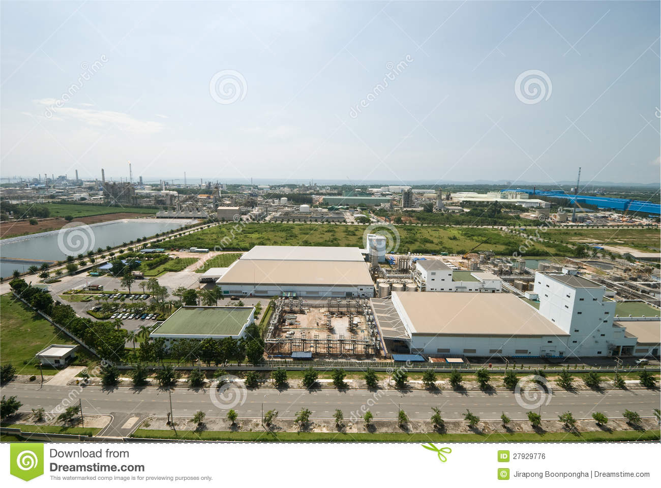 Top View Of Industrial Estate In Thailand Royalty Free ...
