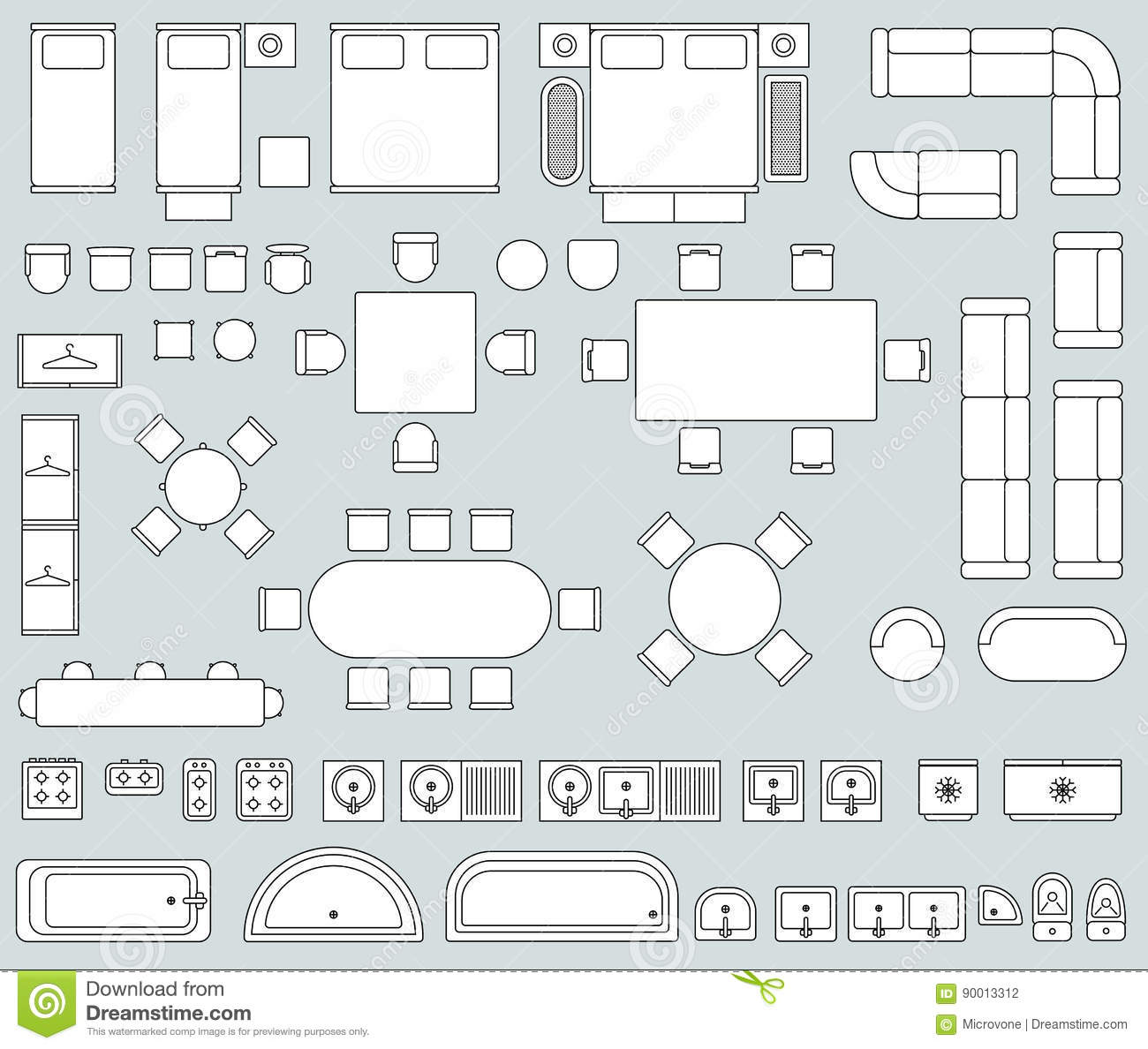 Top View Interior With Line Furniture Icons Vector Set Stock Vector