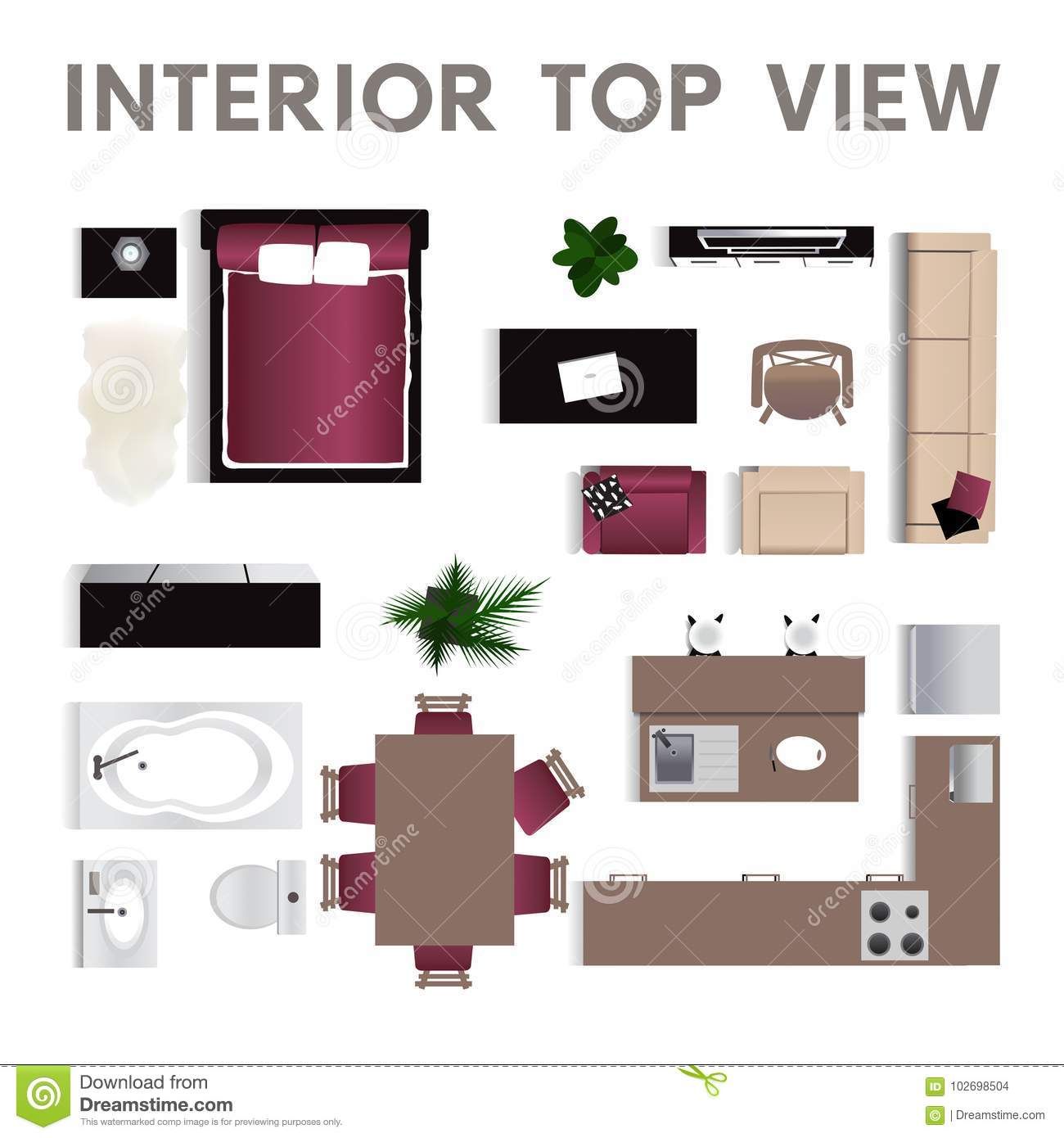Kitchen Set Top View: Interior Top View. Set Of Isolated Realistic Interior Icon