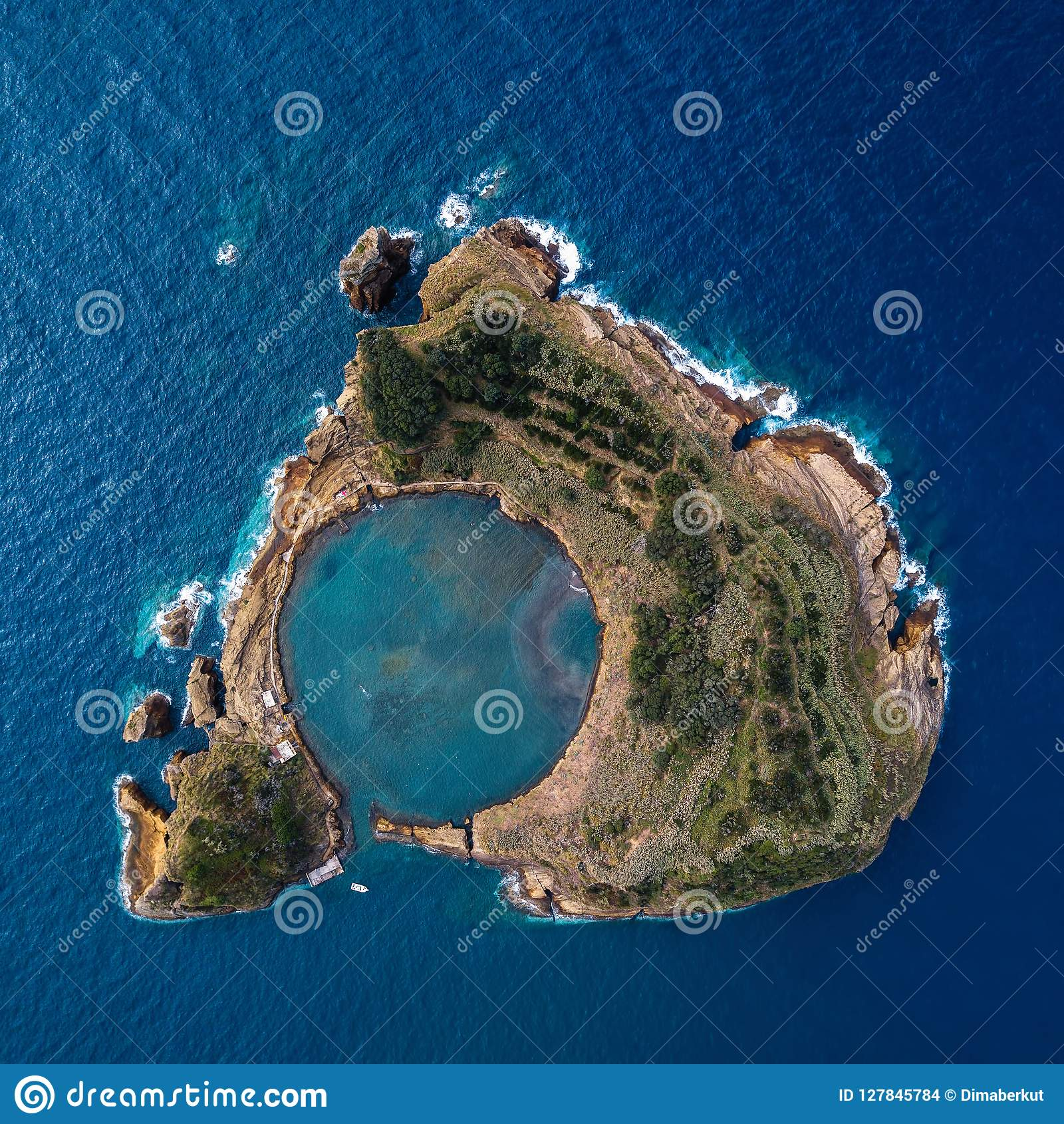 Top view of Islet of Vila Franca do Campo is formed by the crater of an old underwater volcano near San Miguel island.