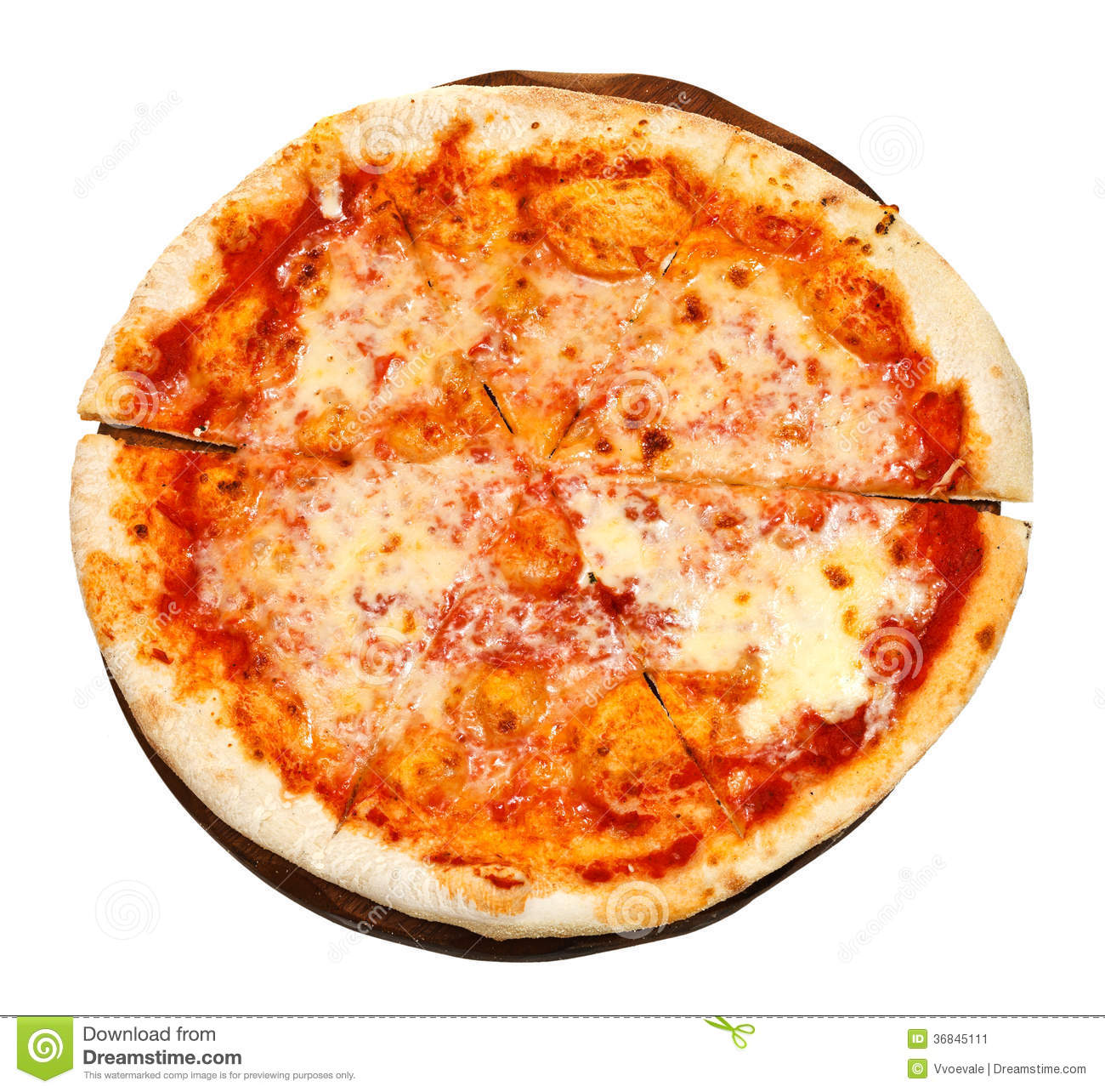 Download Top View Of Italian Pizza Margherita On Board Stock Image