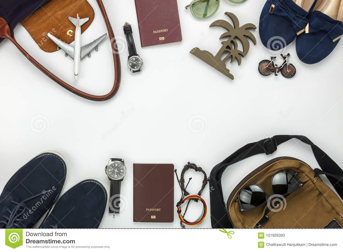 Top View Of Items For Travel With Fashion Men & Women Background