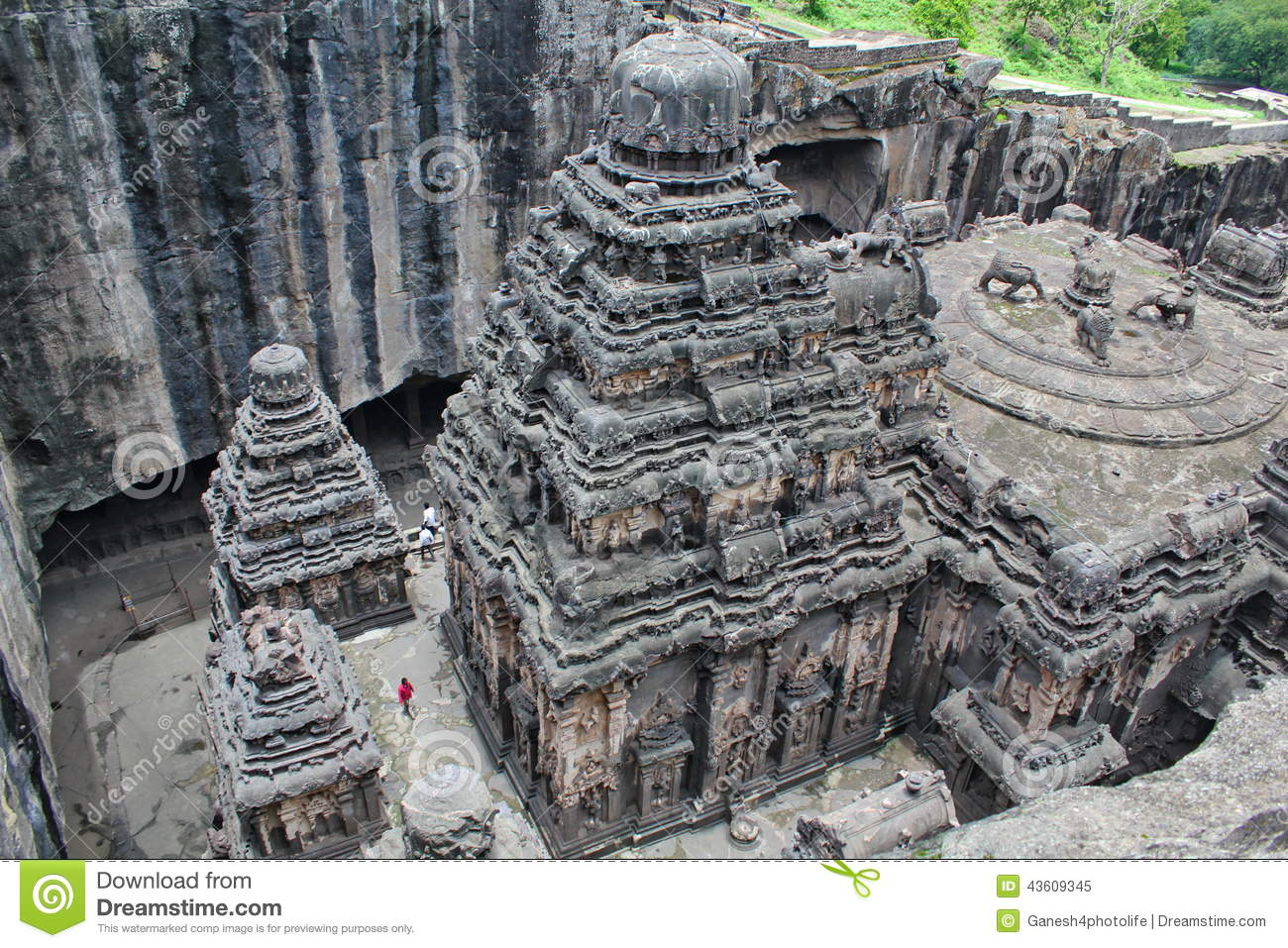 The top view of kailsa temple ancient hindu stone carved