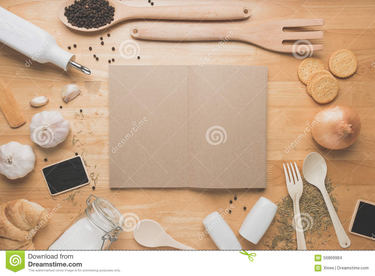 Kitchen View From Above : Top view kitchen mockup rural utensils on wooden