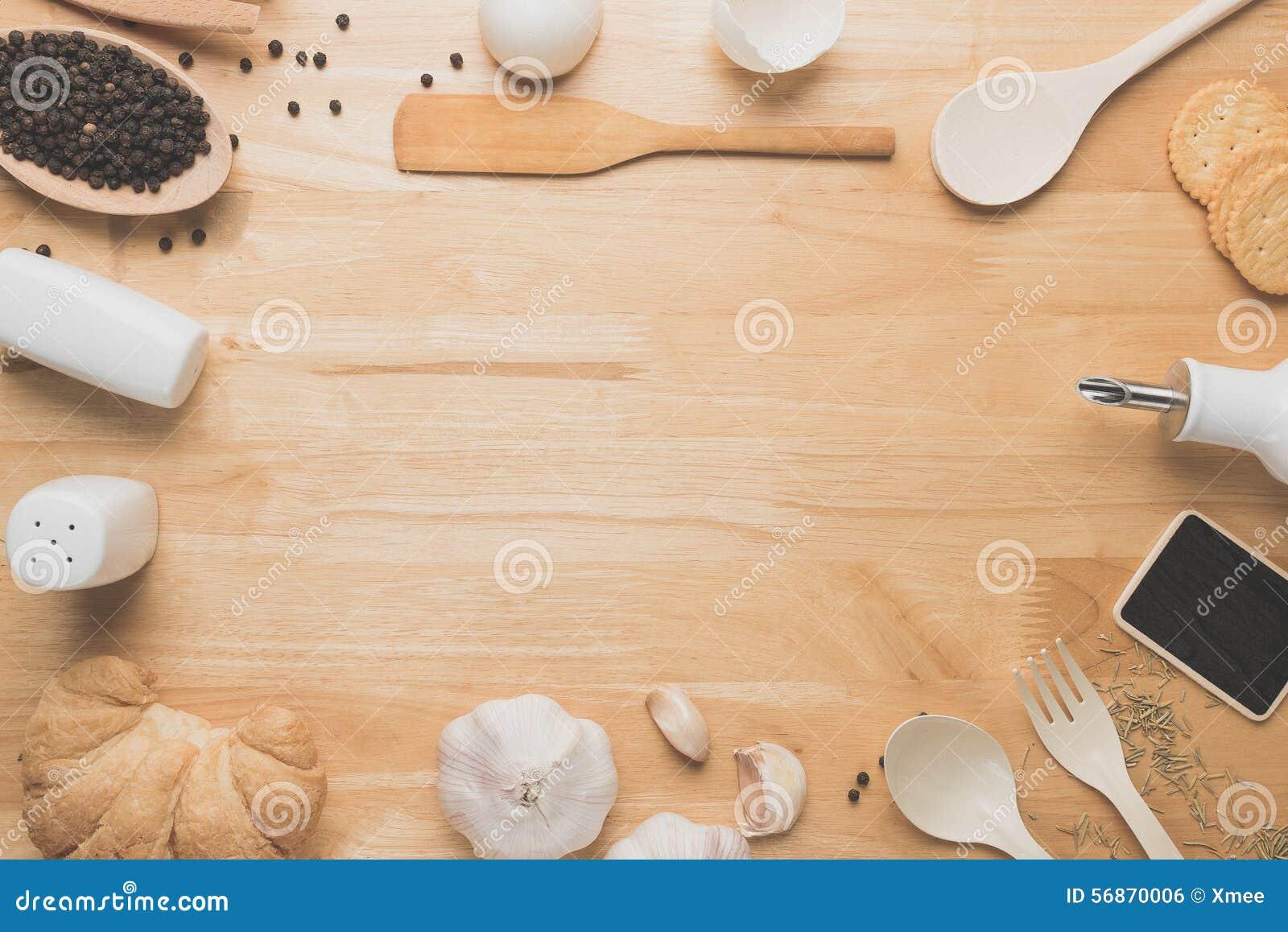 Top View Kitchen Mockup,Rural Kitchen Utensils On Wooden ...