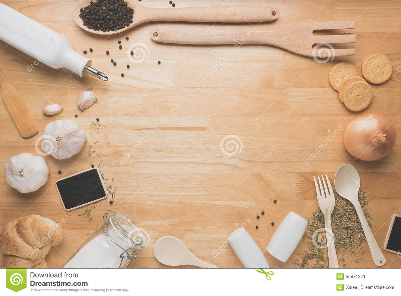 Wood table top view wooden table top view photo - Top View Kitchen Mockup Rural Kitchen Utensils On Wooden Table Stock Photo