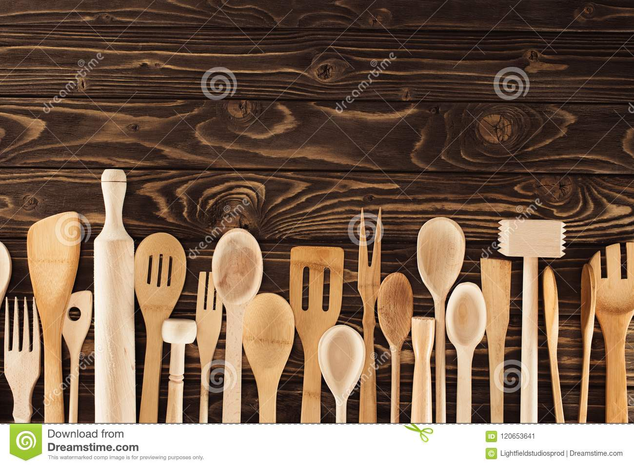 Top View Of Kitchen Utensils Placed In Row Stock Image Image Of