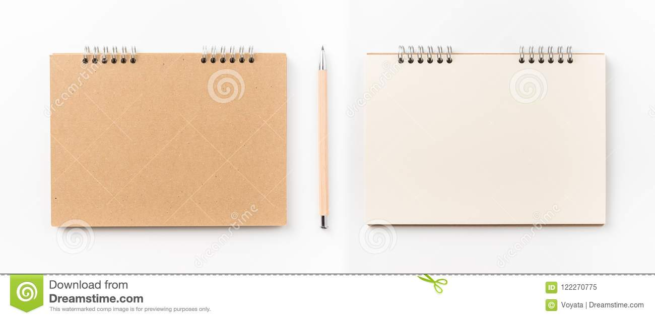 top view of kraft spiral notebook isolated on background for mockup