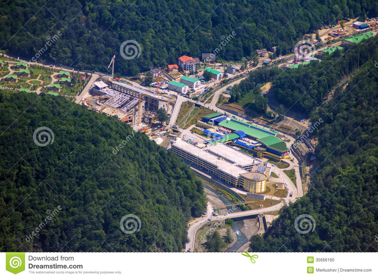 Krasnaya Polyana Russia  city photos : Top view of Krasnaya Polyana, Sochi, Russia. The mountain cluster of ...