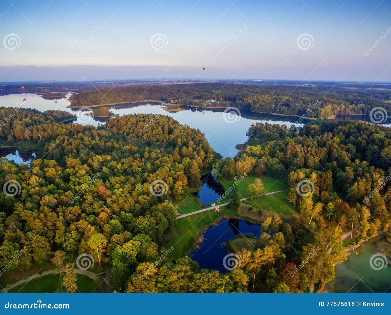Top view of lakes next to Trakai and Vilnius, Lithuania