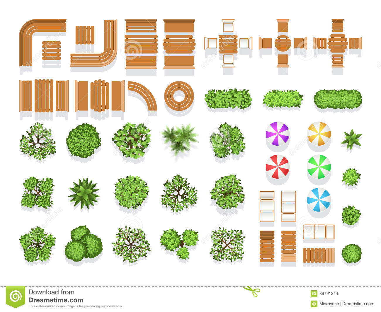 Top View Landscaping Architecture City Park Plan Vector ...