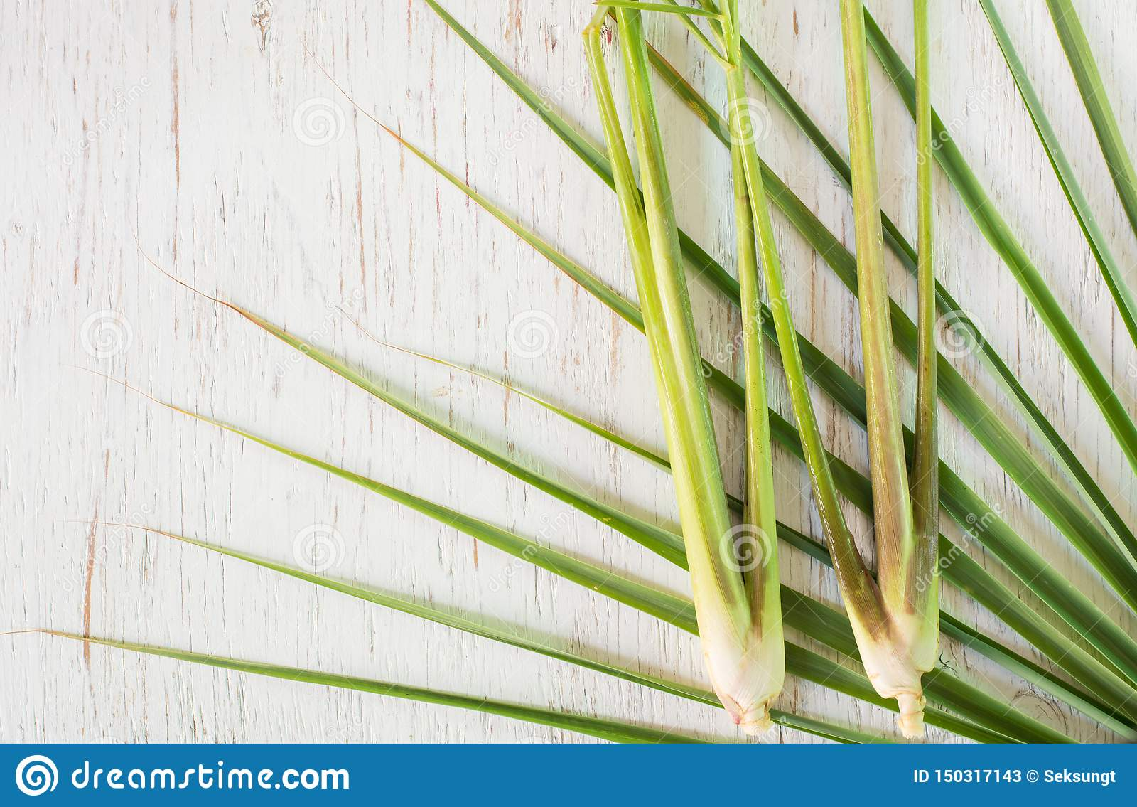 Top View Lemon Grass On Wood Background Stock Image Image Of