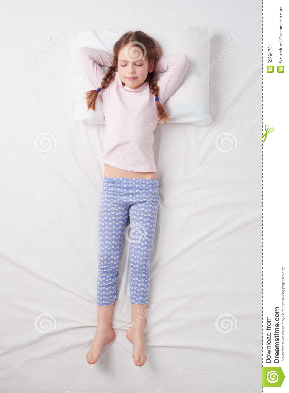 Top View Of Little Cute Girl Sleeping In Soldier Stock -6847