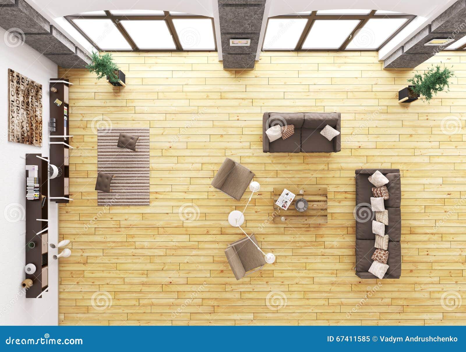 Top View Of Living Room Interior 3d Render Stock