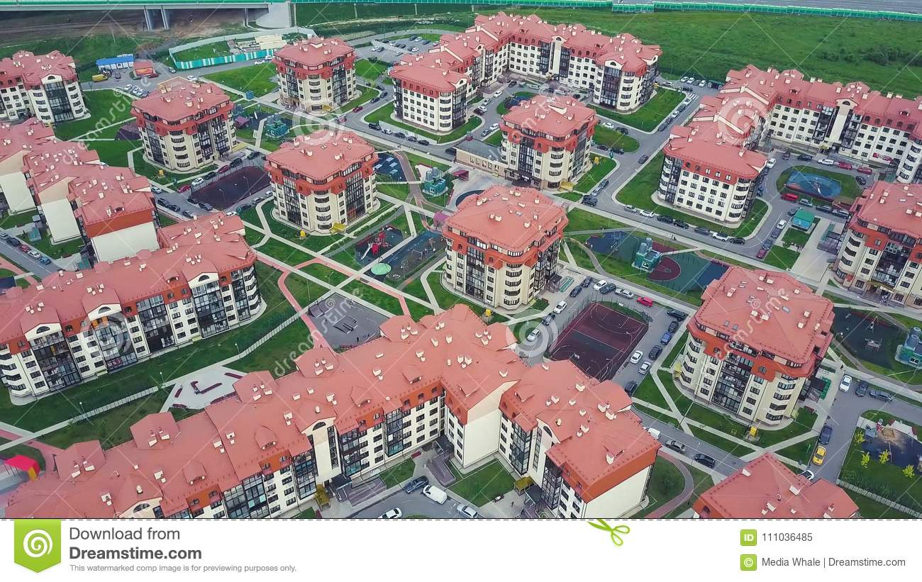 Top View Of Luxury Suburban Apartment Complex Clip Aerial Buildings And