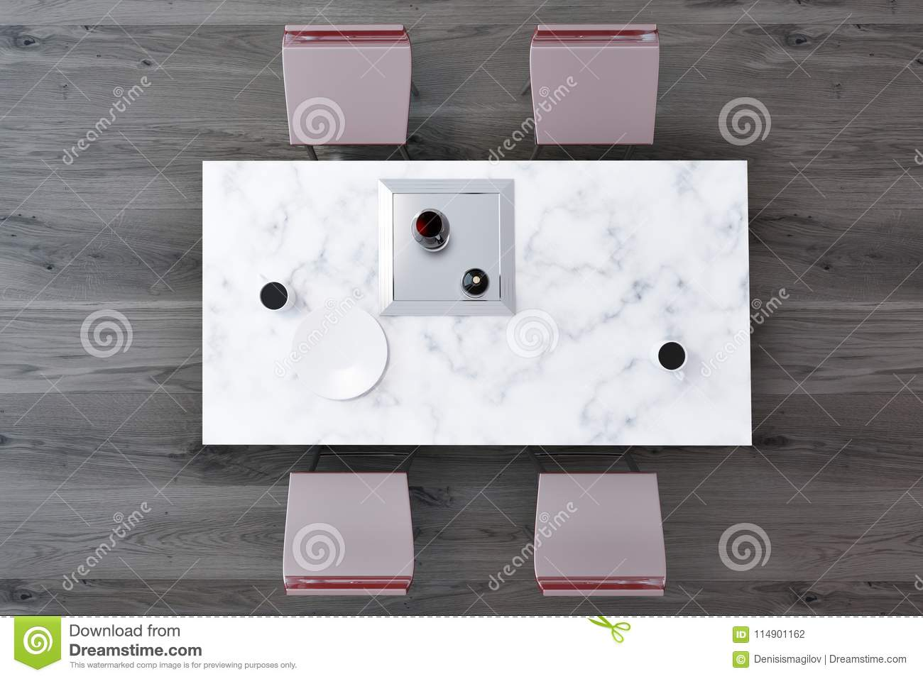 Top View Of A Marble Table Dining Room Stock Illustration Illustration Of Empty Copy 114901162
