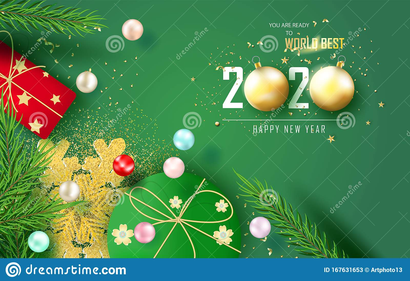 Merry Christmas And Happy New Year Green And Cream 2020 Top View Merry Christmas Tree Pine And New Year Horizontal Banner