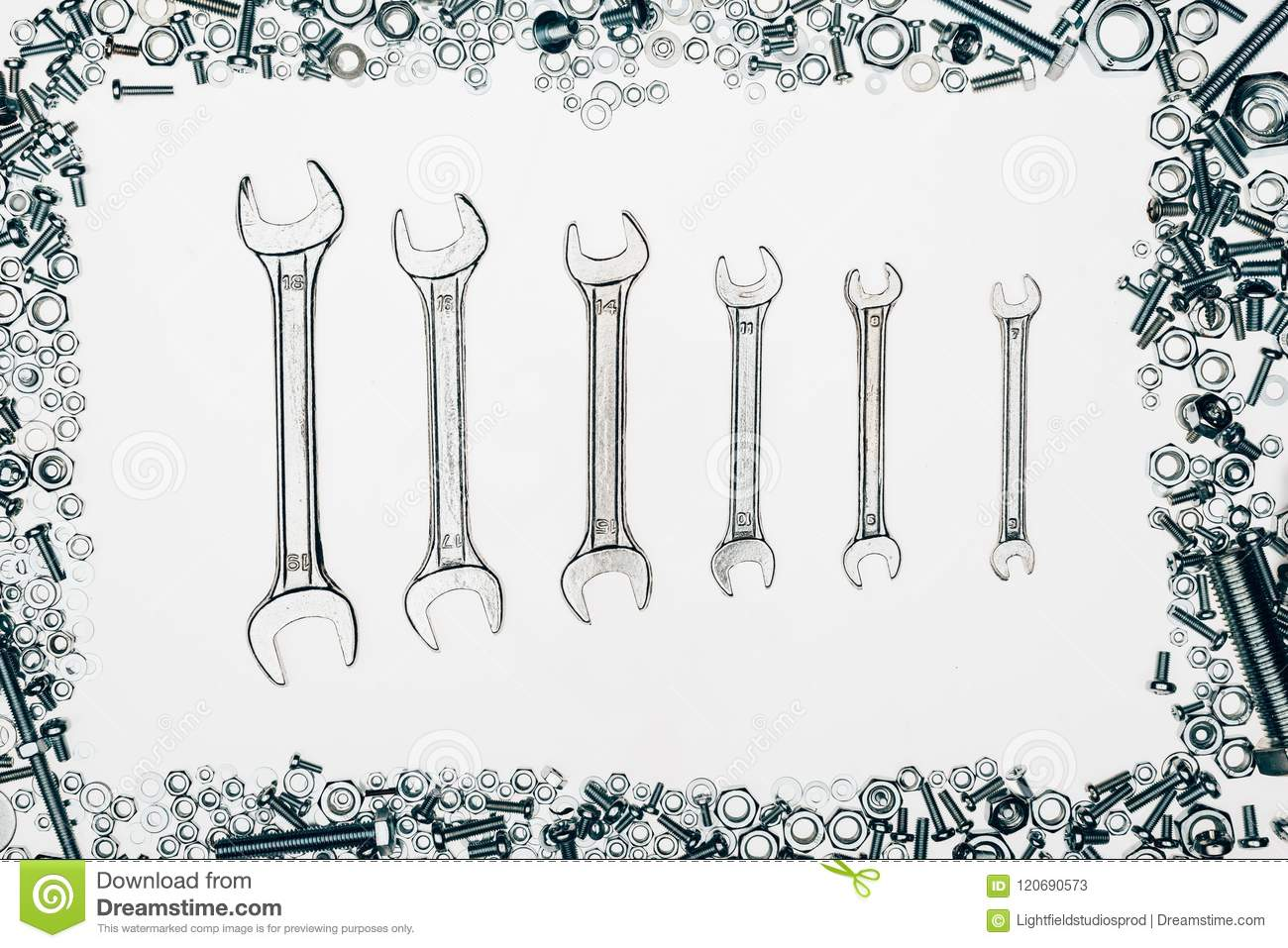Top View Of Metal Wrenches, Various Bolts And Framing Nails Stock ...