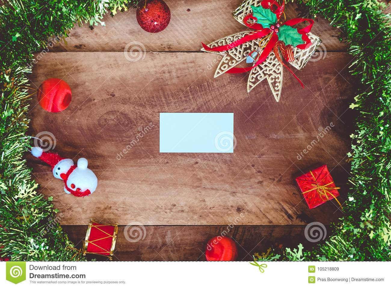 top view mockup image of white blank name card with christmas decorations