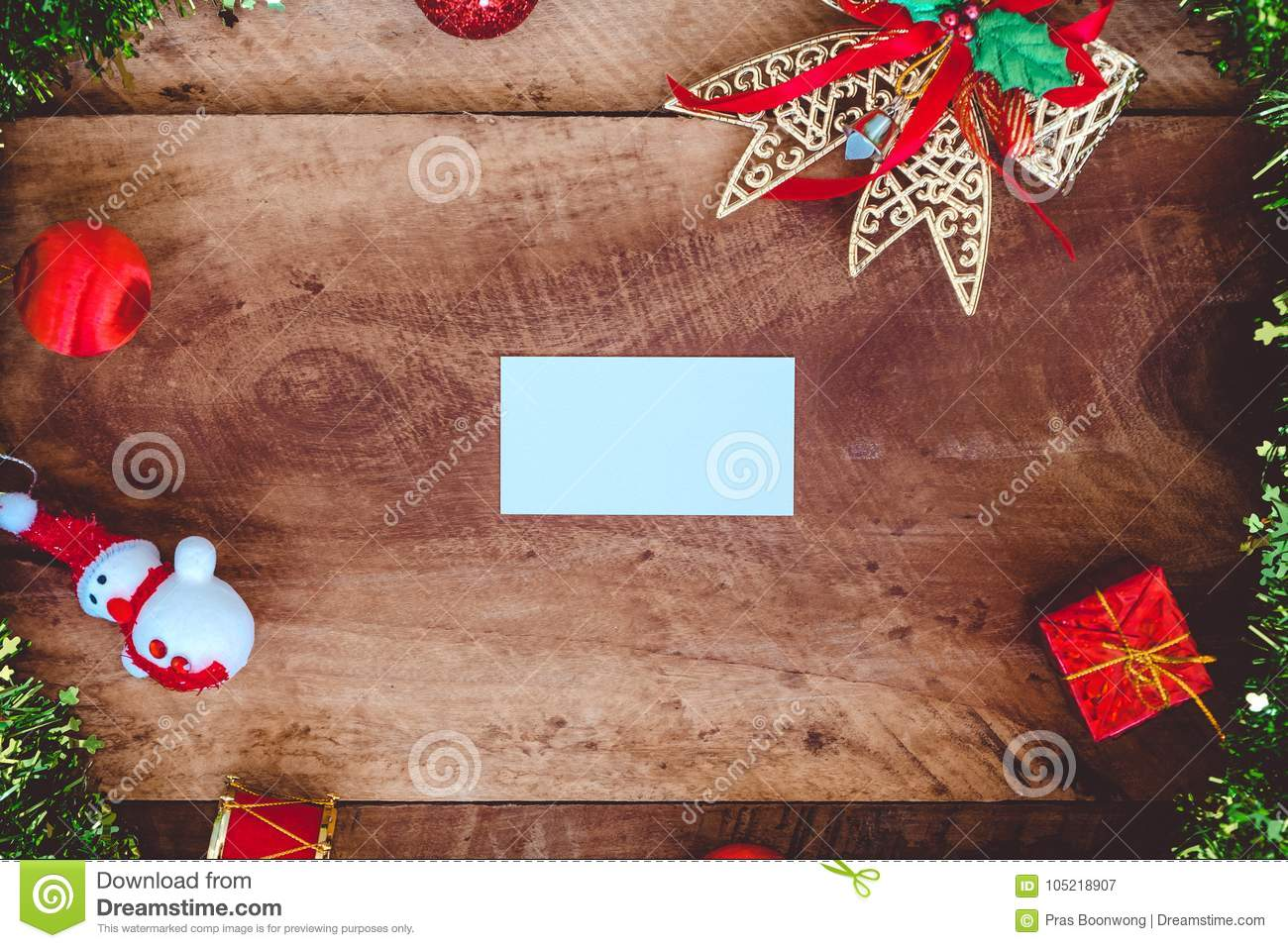 top view mockup image of white blank name card with christmas decorations - Christmas Decorations Names