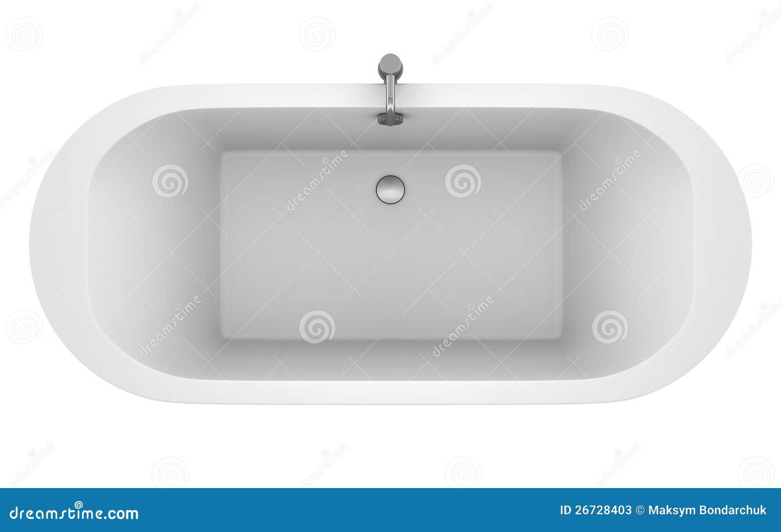 Top View Of Modern Bathtub Isolated On White Stock Photos