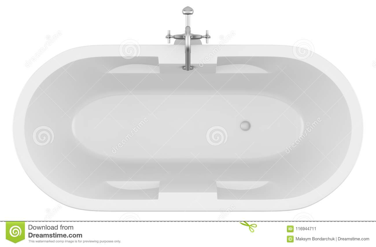 Top View Of Modern Bathtub Isolated On White Stock Illustration