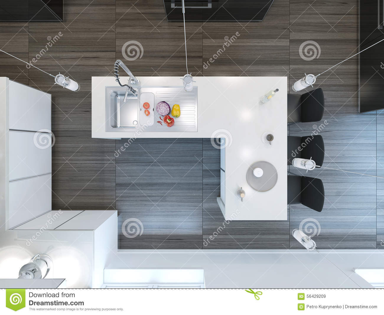 Top View Modern Kitchen Bar Stock Illustration Image